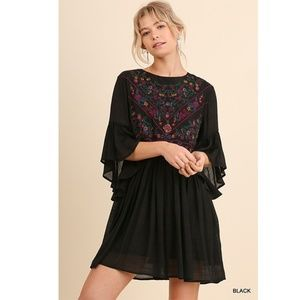 Umgee Floral Embroidery Flutter Sleeve Mini Dress